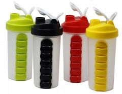 Pill Box Organizer Weekly Seven Compartments with Drinking Bottle 600ml