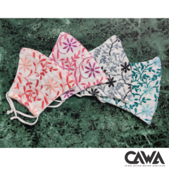 Cawa Double Layered 100% Cotton Light & Easy To Breathe Through Hand-Washable Eco-friendly Chikankari Masks (Packs of 4) | (Color: Multicolor)