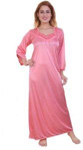 Mrghafeb Stylish & Fashionable Regular Full Length Satin Night Wear/Sleep Wear for Women (Color: Pink)   (Pack of 1)