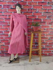 WACA Fashionable & Stylish 100% Cotton Pre-stitched Anarkali With Chikankari Embroidery with it Comes a Chiffon Dupatta with Chikankari work & a Cirosia Border for Women's (Color: Pink)