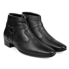 BXXY Men's Black Height Increasing Strap and Buckle Boots boost