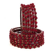 Priya Kangan Glass and Cubic Zirconia Bangles for Women & Girls (Set of 12) (Red) Size- 2.6 Inches