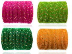 Priya Kangan Glass and Bangle Set for Women & Girls (Set of 96) (Multicolor) Size - 2.4 Inches