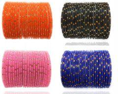 Priya Kangan Glass and Bangle Set for Women & Girls (Set of 96) (Orange/Black/Pink/Blue) Size - 2.4 Inches