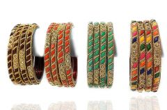Priya Kangan Beautiful First Quality Fancy Glass Bangles Set with Four Colours for Any Occasions Type Like Anniversary/Puja & Festivals (Pack of 16 Bangles)