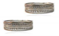 Priya Kangan Jewellery Traditional Silver Plated Oxidized Bracelet Bangles Set for Girls and Women