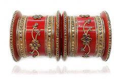 Priya Kangan Plastic Gold Plated & Cubic Zirconia Bangle Chuda Set for Women & Girls