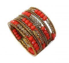 Priya Kangan Fashion Jewellery Red Moti Traditional Gold Plated Bracelet Bangles Set for Girls and Women