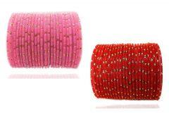 PRIYA KANGAN Beautiful Velvet Fabric & Glass Bangle Set For Women & Girls Pink & Red Color (Pack of 48)