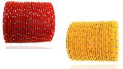PRIYA KANGAN Beautiful Velvet Fabric & Glass Bangle Set For Women & Girls Red & Yellow Color (Pack of 48)