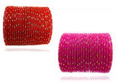 PRIYA KANGAN Beautiful Velvet Fabric & Glass Bangle Set For Women & Girls Red & Rani Color (Pack of 48)