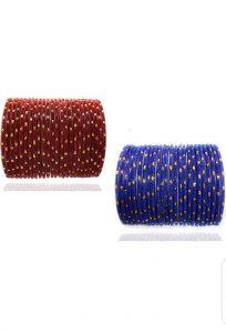 PRIYA KANGAN Beautiful Velvet Fabric & Glass Bangle Set For Women & Girls Brown & Blue Color (Pack of 48)