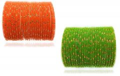 PRIYA KANGAN Beautiful Velvet Fabric & Glass Bangle Set For Women & Girls Orange & Parrot Color (Pack of 48)