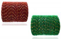 PRIYA KANGAN Beautiful Velvet Fabric & Glass Bangle Set For Women & Girls Brown & Green Color (Pack of 48)