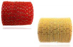 PRIYA KANGAN Beautiful Velvet Fabric & Glass Bangle Set For Women & Girls Red & Cream Color (Pack of 48)