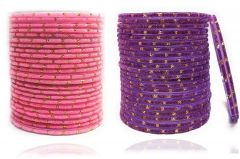 PRIYA KANGAN Beautiful Velvet Fabric & Glass Bangle Set For Women & Girls Pink & Purple Color (Pack of 48)