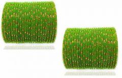 Priya Kangan Stylish & Fashionable Glass & Bangle For Women & Girls (Green) (Set of 48)