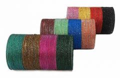 Priya Kangan Adorable Full Zari Work Metal Chudi, Bangles Set Match With All Attires | 12 Different Colours For Partywear, Weddings & All Occasions (Pack of 144 Bangles)