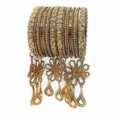 Priya Kangan Classic Antique Gold Plated & Cubic Zirconia Syone With Studded Pearl Traditional Latken, Hanging Bangles For Women and Girl (Pack of 20 Bangles)