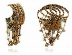 Priya Kangan Fashionable Copper Bangles Set With Latkan & Ghugaroo, Small Pearls For Women & Girls (Pack of 8 Bangles)