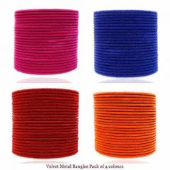 Priya Kangan Latest Ethnic Velvet Fabric Pattern Metal Bangles Match With Any Jewellery For All Special Occasions (Pack of 4)-2.80