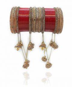 Priya Kangan Latest & Designer Collection Latkan Bridal Chuda Set, Hanging Bangles With Cubic Zirconia Stone Set For Girls