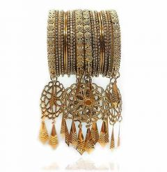 Priya Kangan Classic Antique Gold Plated With Studded Pearl Traditional Latken, Hanging Bangles Set For Women & Girl (Pack of 20 Bangles)