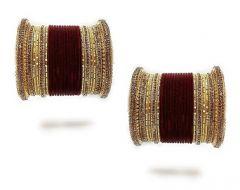 Priya Kangan Adorable Designer Metal Velvet Bridal Bangles Set Work With Full Zircon Stones, Wedding bangles Set For Women