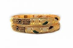Priya Kangan Traditional Fancy Designer Casual Party Original Hand Work One Gram Golden Bangles For Women (Set Of 1)