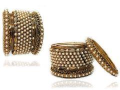 Priya Kangan Ethnic Royal Copper Gold Plated Bangles Set Jewellery Work With Moti & Stone For Women & Girls (Pack Of 18 Bangles)