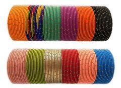 Priya Kangan Multi-Color Bangle Set Zari Dot Matt Finish in Dot Pattern Neon Colours, Alloy Traditional Ethnic For Women & Girls (Pack Of 144Pcs Bangles)