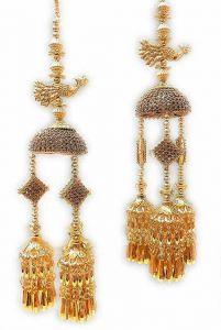 Priya Kangan Gold Plated Punjabi Bridal Kalire/Kaleera/Hand Hanging Latkan for Women (Pack of 2 Piece)