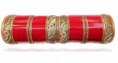 Priya Kangan Designer Red & Golden LCD Stone Bridal Dulhan Chuda Fashion Punjabi Choora Wedding Chura Set (Red) (Pack of 72 pcs Bangles)