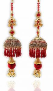 Priya Kangan Red Plastic Punjabi Kalire Hand Hanging Latkan for Women