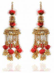 Priya Kangan Red Gold Plated Punjabi Flower Hand Hanging/Kaleera for Women (Pack of 2 Piece)