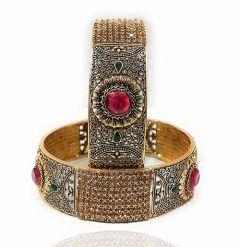 Priya Kangan Traditional One Gram Gold Plated Royal Look Designer Bangles For Girls & Womens (Pack of 2 Bangles)