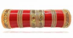 Priya Kangan Red Designer AD (American Diamond), Gold Mirror & LCD Diamonds Bridal Dulhan Chuda Fashion Wedding Chura Punjabi Choora Set By Priya Kangan (Pack of 72 pcs Bangles)