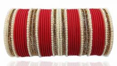 Priya Kangan Dazzling Adorable Nion Colour With Moti Pattern Complete Bridal Bangles Set For Girls & Women All Occasion Type Bangles Set (Red) (Pack Of 44 Pcs Bangles)