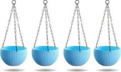 Indoor and Outdoor Plastic Hanging Flower Plant Pot With Hanging Chain (Pack of 4) (Blue)