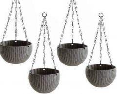 Indoor and Outdoor Plastic Hanging Flower Plant Pot With Hanging Chain (Pack of 4)