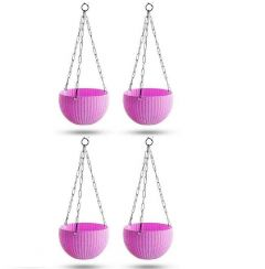 Indoor and Outdoor Plastic Hanging Flower Plant Pot With Hanging Chain (Pack of 4) (Pink)
