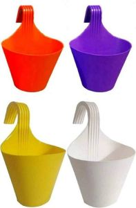 High-Quality Plastic Railing Hook Plant Container Pot (Multi-Color) (Pack of 4)