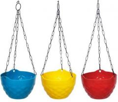 Indoor and Outdoor Plastic Hanging Flower Plant Pot With Hanging Chain (Pack of 3)