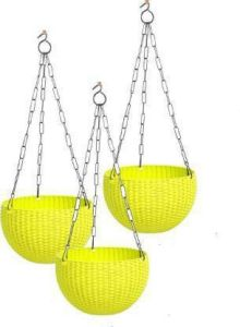 Indoor and Outdoor Plastic Hanging Flower Plant Pot With Hanging Chain (Pack of 3) (Yellow)