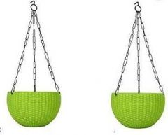 Indoor and Outdoor Plastic Hanging Flower Plant Pot With Hanging Chain (Pack of 2) (Green)