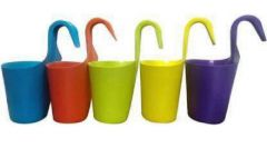 High-Quality Plastic Railing Hook Plant Container Pot (Multi-Color) (Pack of 5)