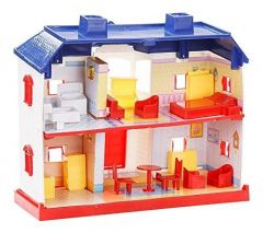Plastic Doll House For Kids (Dining Room Has 1 Dining Table, 2 Chairs, 1 Refrigerator, 1 Sink And Stove)