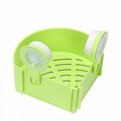 Bathroom And Kitchen Organizer Corner Shelf Triangle Plastic Soap Holder With Wall Mount Suction Cup