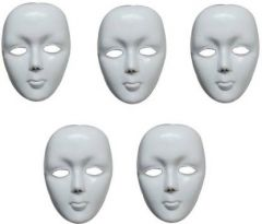 PTCMART Plastic White Face Mask For Party Costume, Party Mask  (Multicolor, Pack of 5)