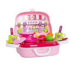TECHTOY-Chef Mini Kitchen Cooking Toy Set With Utensils & Accessories For Girls (Multi-Color) (25 Pieces)
